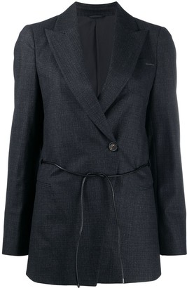 Brunello Cucinelli Drawstring-Waist Double-Breasted Blazer
