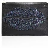 Charlotte Olympia Pouty Metallic Leather & Glitter Pouch