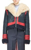 Cédric Charlier Grosgrain Stripe Shearling Jacket