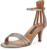 Neiman Marcus Adella Leather Multi-Strap Sandal, Platinum