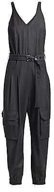 Brunello Cucinelli Women's Grisaille Wool Cargo Jumpsuit