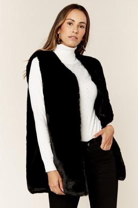Gini London Black No Cut Faux Fur Sleeveless Gilet
