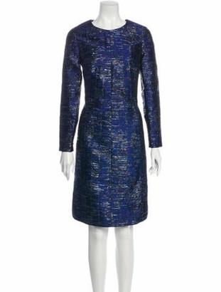 Oscar de la Renta Crew Neck Knee-Length Dress Blue