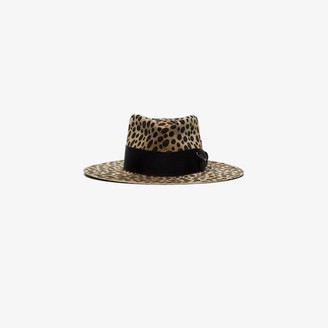 Nick Fouquet brown leopard print wool felt fedora hat