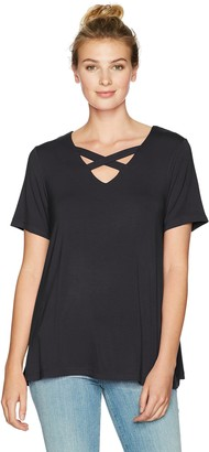 Sag Harbor Women's Short Sleeve X-Neck Tee