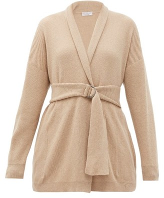 Brunello Cucinelli Belted Rib-knitted Cashmere Cardigan - Camel