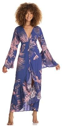 Maaji Hypnosis Long Wrap Dress Cover-Up (Blue) Women's Dress