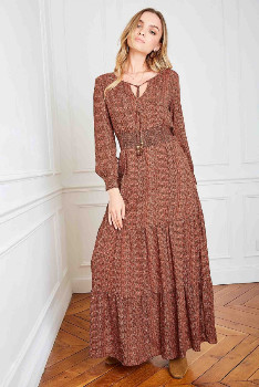 La Petite Etoilee - Rosewood Molitor Long Sleeve Dress - rosewood   Polyester and Rayon   T1 - Rosewood