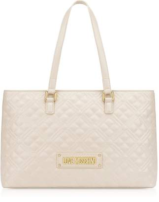 Love Moschino Quilted Synthetic Leather Tag Tote Bag