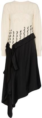 Loewe Contrast Knit Asymmetric Dress