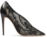 Valentino Leather-trimmed Guipure Lace Pumps - Black