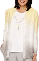 Alfred Dunner Santa Clara 3/4-Sleeve Ombre Layered Necklace Sweater