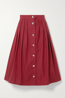 Giuliva Heritage Collection The Giovanna Pleated Cotton Midi Skirt - Red
