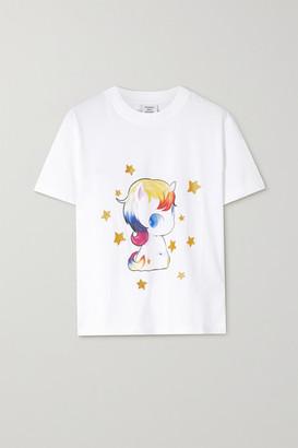 Vetements Glittered Printed Cotton-jersey T-shirt - White