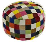 Circular Handcrafted Hair-on Cowhide Patchwork Ottoman Cover, 'Festive Checkerboard'