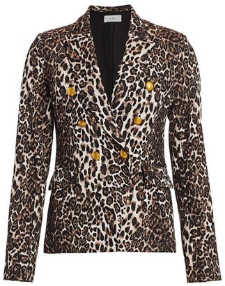A.L.C. Alton Leopard Print Double-Breasted Blazer