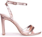 Linzi SWEETHEART - Rose Gold Metallic Slim Heeled Sandal With Double Front Strap