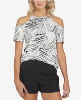 1 STATE 1.STATE Printed Cold-Shoulder Top