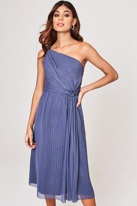 Little Mistress Anais Lavender Grey Ring Detail Midi Dress