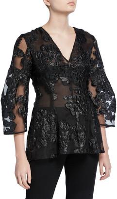 Lela Rose Lace Full-Sleeve V-Neck Blouse