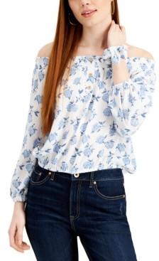 Vanilla Star Juniors' Floral-Print Off-The-Shoulder Top