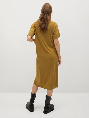 MANGO Jersey Midi Dress - Yellow