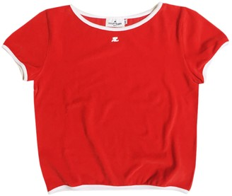 Courreges Red Cotton Top for Women Vintage