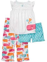 Carter's 3400271 3-pc. Whale Pajamas - Girls 2t-5t