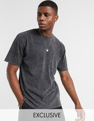 Reclaimed Vintage inspired pocket t-shirt in washed black