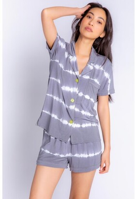 PJ Salvage Happy Days Tie Dye Pajama Set, Charcoal Medium