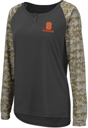 Colosseum Women's Charcoal/Camo Syracuse Orange United We Stand Camo Raglan Long Sleeve Henley T-Shirt