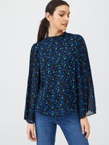 Very Pleat Print Sleeve Sheer Hem Blouse - Blue Spot