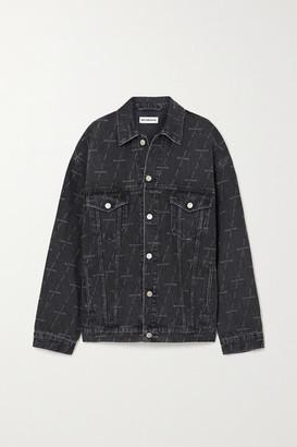 Balenciaga Oversized Printed Denim Jacket - Black
