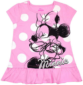 DISNEY MINNIE MOUSE Disney Girls Round Neck Short Sleeve Minnie Mouse Graphic T-Shirt-Toddler