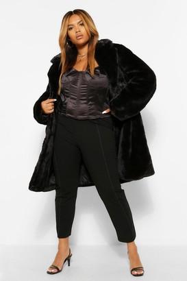 boohoo PLUS Double Breasted Faux Fur Coat