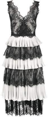 Marchesa lace panelled tiered midi dress