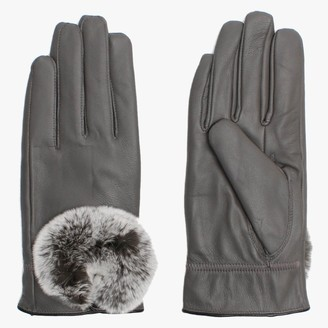 Little Red Grey Leather Fur Trim Gloves