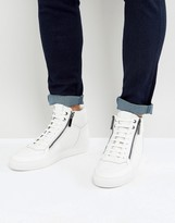 Hugo By Hugo Boss Futurism Tenn Double Zip Hi Top Trainers