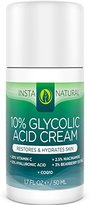 InstaNatural Glycolic Acid Cream - With 10% Glycolic Acid, 20% Vitamin C, 10% Hyaluronic Acid, Niacinamide & CoQ10 - Exfoliating Moisturizer Lotion for Face and Dry Skin - 1.7 OZ