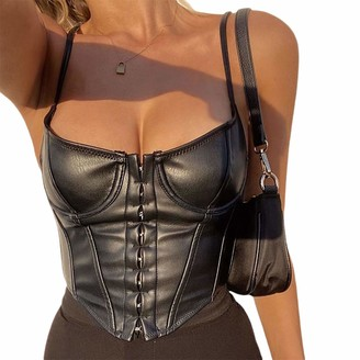 jsadfojas Women's Sexy Bustiers PU Leather Crop Top Spaghetti Strap Push Up Corset Tank Vest Y2K Club Party Clubwear (Brown S)