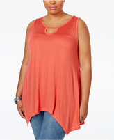 American Rag Trendy Plus Size Sleeveless Handkerchief-Hem Top, Only at Macy's