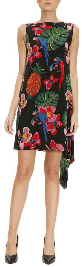 Valentino Dress Short And Symmetrical Dress With Tropical Pattern And Frill