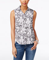 Charter Club Sleeveless Floral-Print Shirt, Only at Macy's