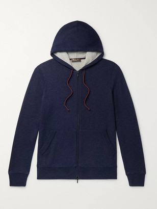 Loro Piana Melange Cashmere-Blend Zip-Up Hoodie