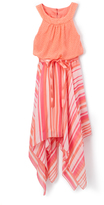 Speechless Coral Polka Dot & Stripe Yoke Dress - Girls