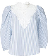 Sea lace bib striped blouse