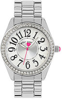Betsey Johnson Silver Stainless Steel Crystal Bezel Analog Watch