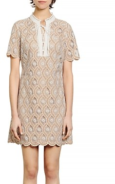 Sandro Yanni Lace Mini Shift Dress