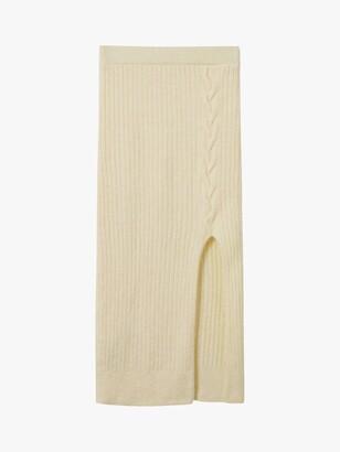 MANGO Combis Ribbed Knit Midi Skirt, Light Beige