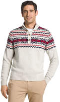 Izod Fairisle Button Mock Neck Long Sleeve Sweater